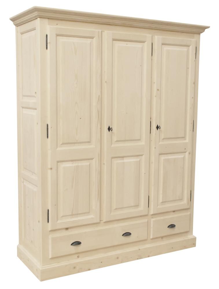 Armoire d montable 3 tiroirs 3 portes penderie en pin for Armoire penderie 3 portes