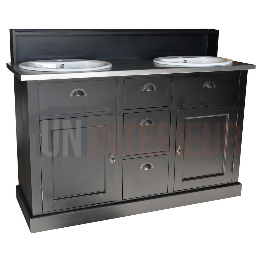 Acheter meuble bain 2 vasques offertes pin zinc - Meuble 2 vasques ...