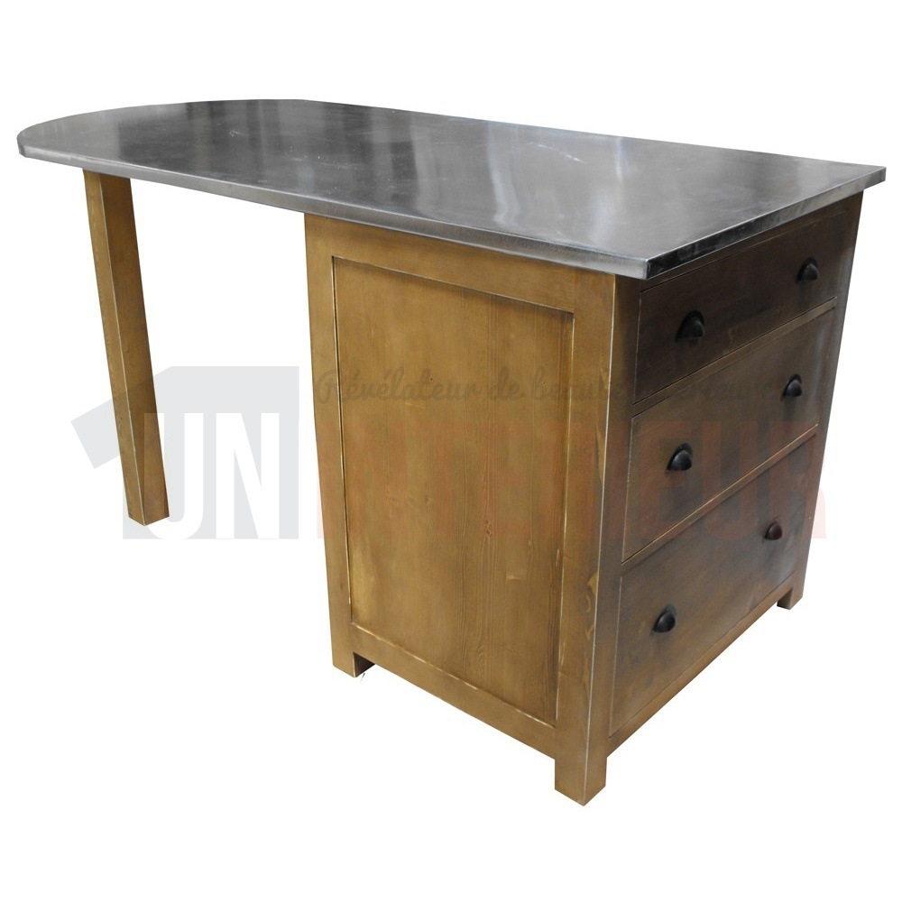 Table p le central sur mesure en pin massif plateau zinc - Plateau de table en granit ...
