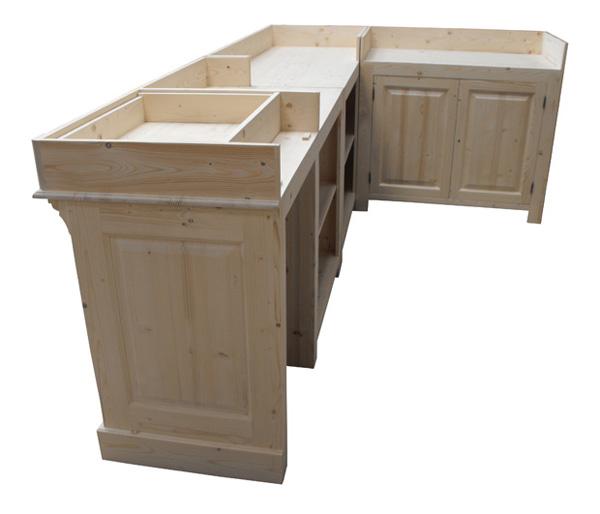 meuble bar sur mesure 300cm en pin sans plateau. Black Bedroom Furniture Sets. Home Design Ideas