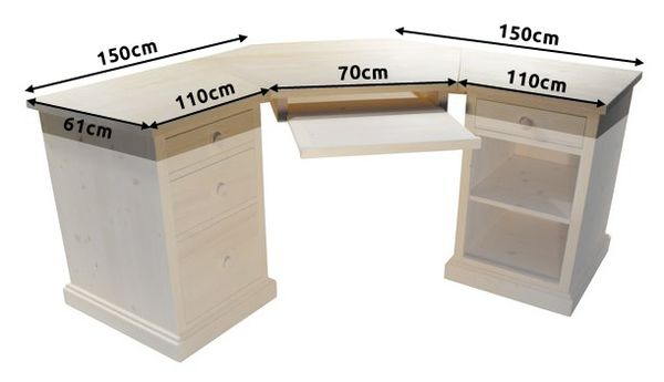 Acheter bureau dangle en pin massif -> Bureau DAngle En Pin