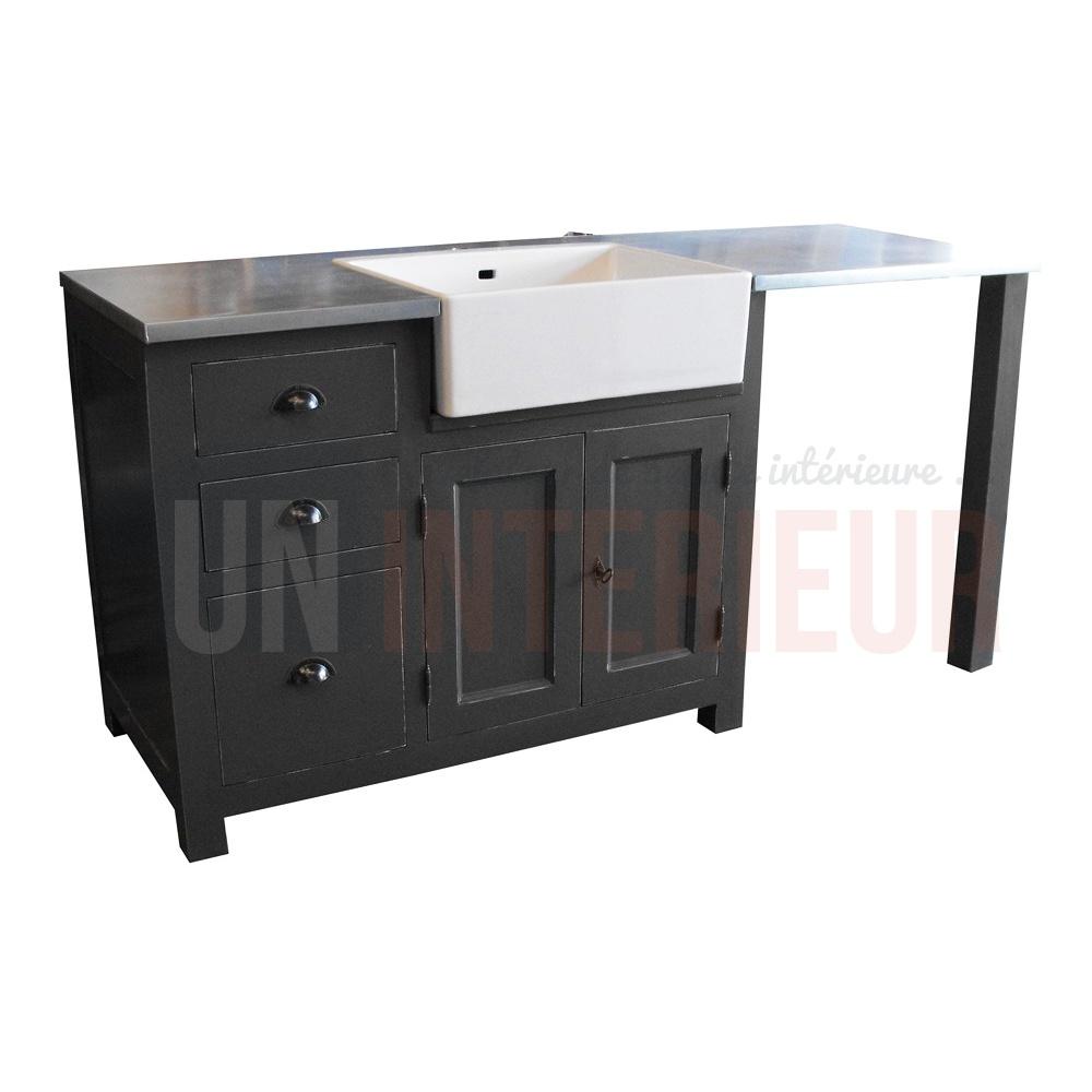 Meuble Evier Avec Timbre D Office Et Emplacement Lave Vaisselle Pin Zinc