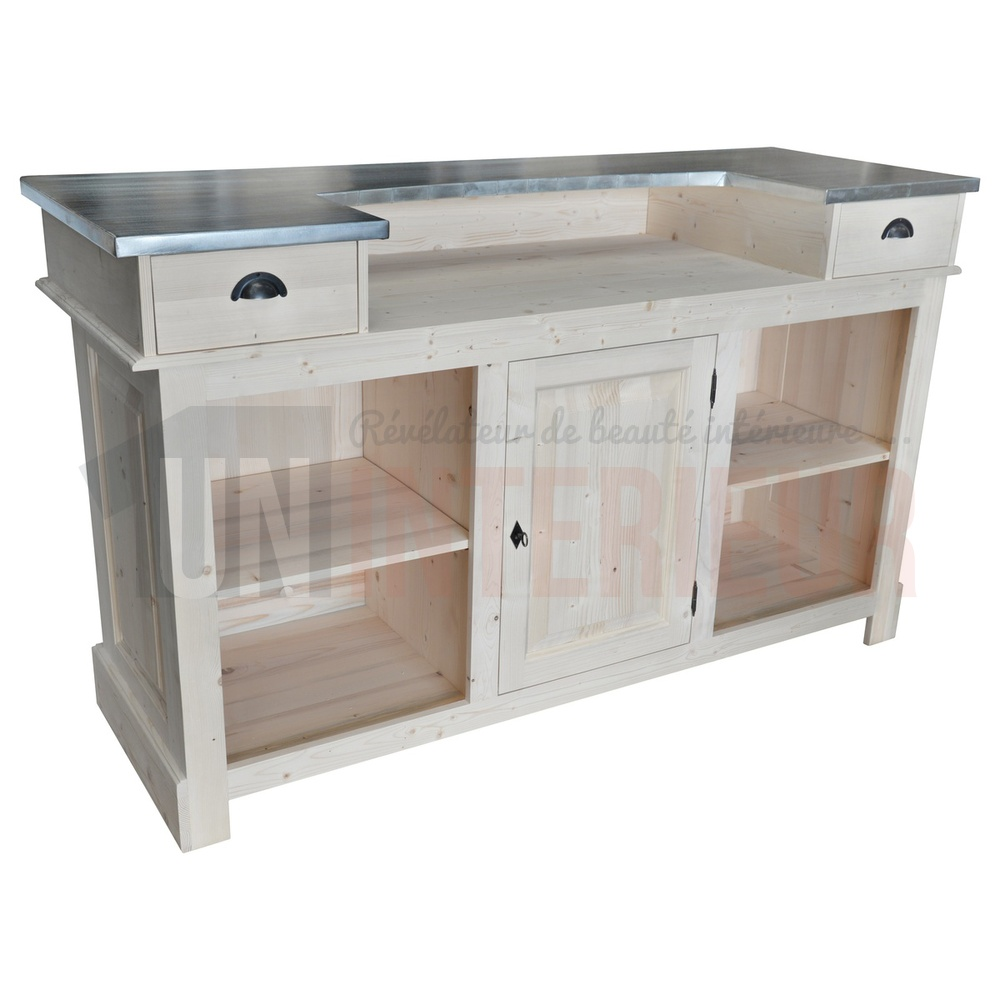meuble comptoir bar 180cm pin zinc