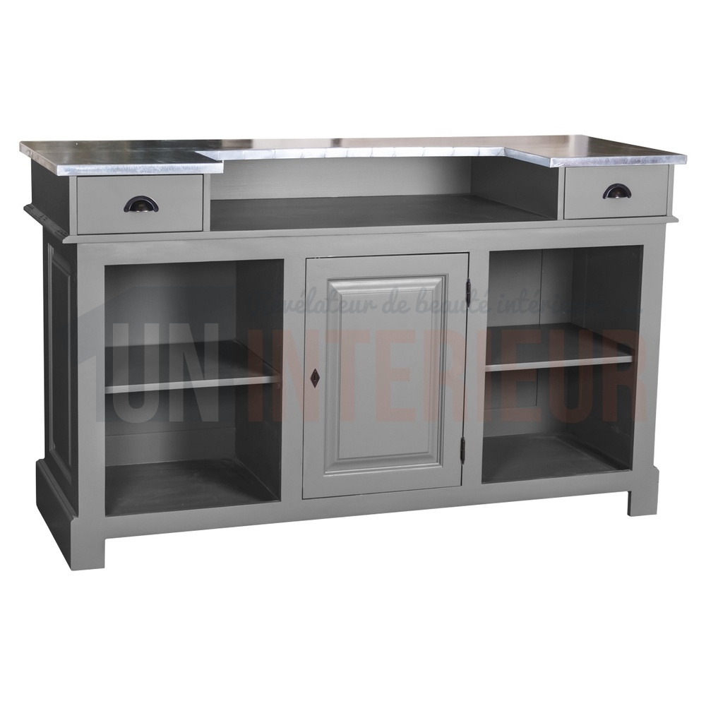 Meuble bar zinc 160cm pin massif for Meuble sous bar