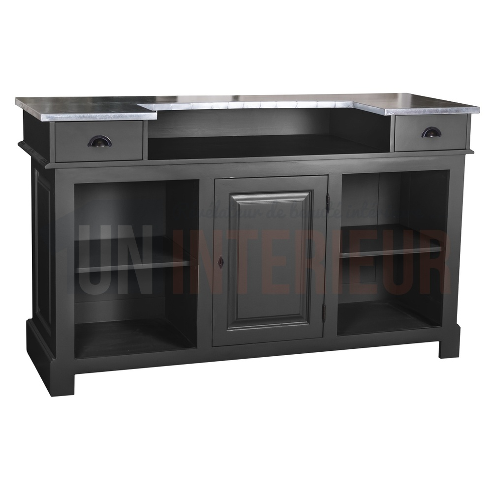 Meuble comptoir bar 180cm pin zinc for Meuble bar comptoir