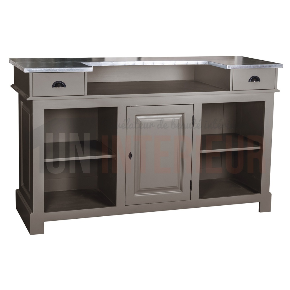 Comptoir de bar 150cm plateau zinc ou pin for Meuble de bar