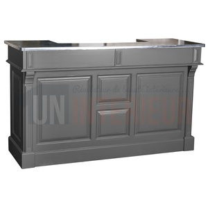 comptoir de bar 150cm plateau zinc ou pin. Black Bedroom Furniture Sets. Home Design Ideas
