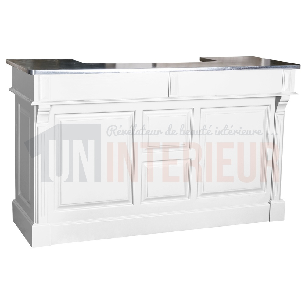 Comptoir de bar 150cm plateau zinc ou pin - Meuble ceruse blanc technique ...
