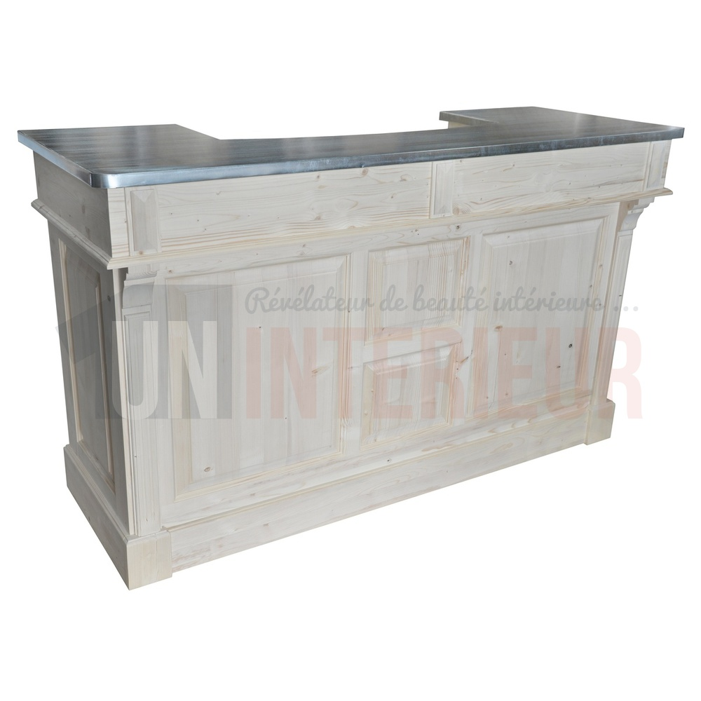Comptoir de bar 150cm plateau zinc ou pin for Meuble bar comptoir