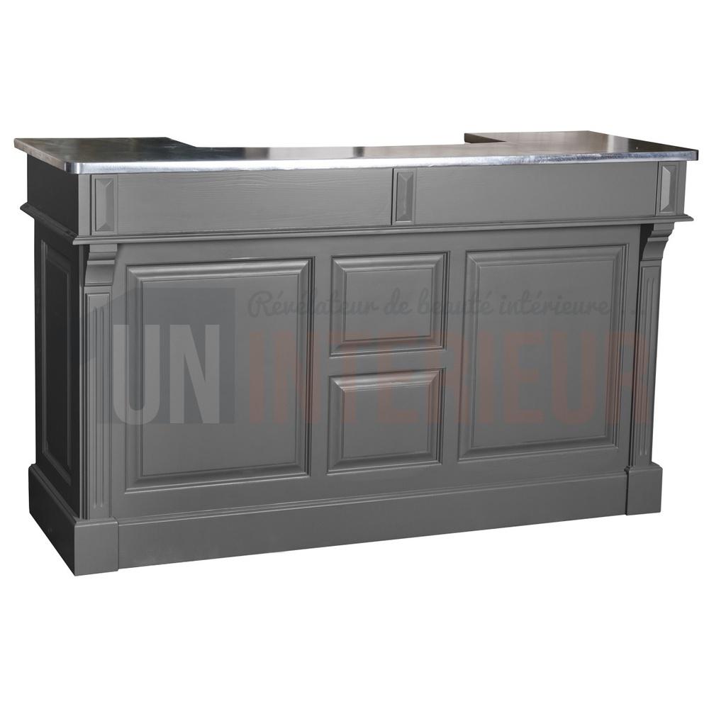 Comptoir de bar 150cm plateau zinc ou pin for Comptoir du meuble angouleme