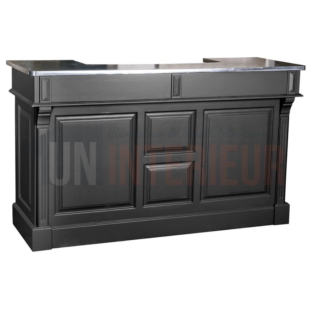 Meuble comptoir bar 180cm pin zinc for Meuble comptoir
