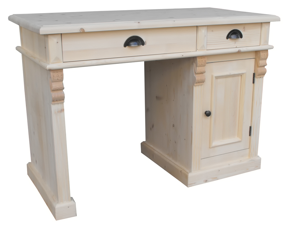 Bureau de 110cm en pin massif  2 tiroirs et 1 por -> Bureau DAngle En Pin