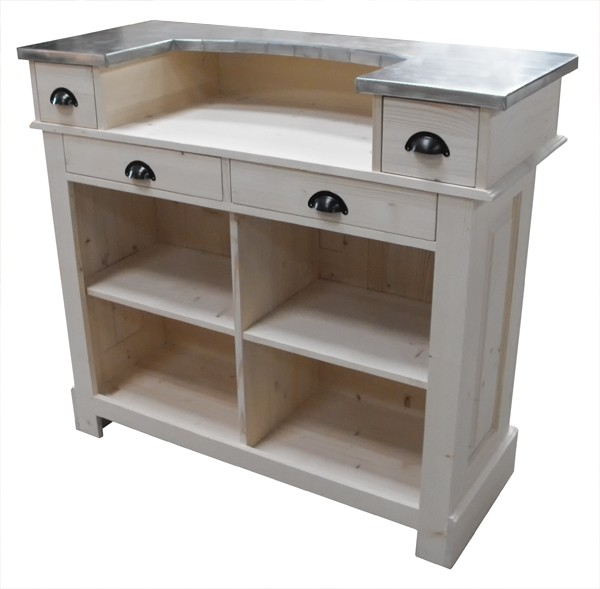 Petit comptoir bar 120cm en pin zinc for Meuble bar comptoir