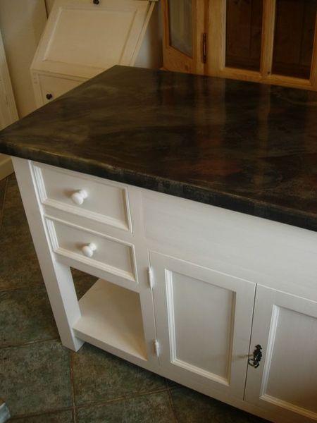 Plateau de meuble en zinc meuble bain zingu for Plaque de zinc pour recouvrir un meuble